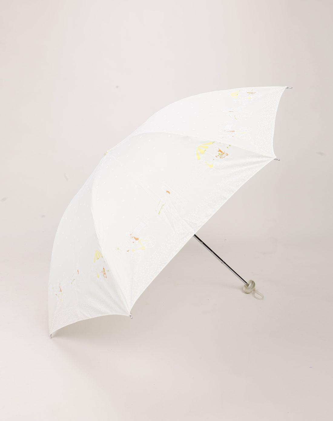 米白色印图案防紫外线都市丽人晴雨伞