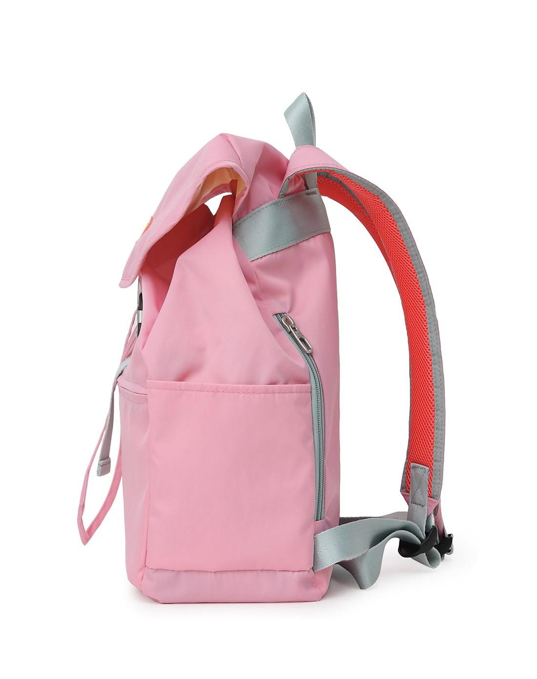 2015新款女款粉红色翻盖水桶双肩包