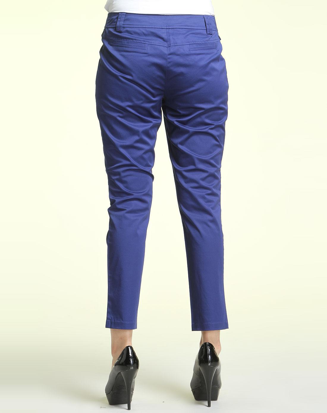 深蓝色简约休闲长裤