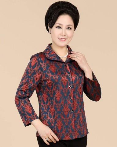 蓝/锈红色欧式典雅花纹长袖衬衫