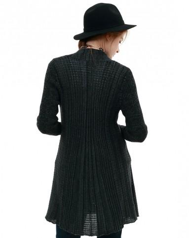 谜底黑色中长毛衣开衫外套4cdz0020h00