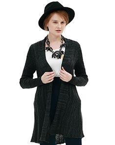 黑色中长毛衣开衫外套