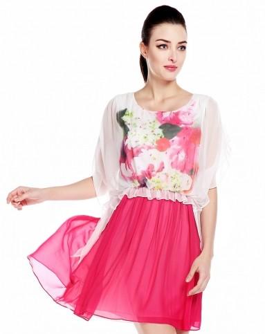 女款本白色蝴蝶袖束腰真丝连衣裙