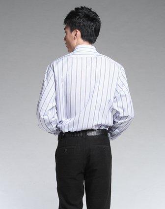 卡帝乐鳄鱼cartelo男装专场-淡蓝底红色条纹长袖衬衫