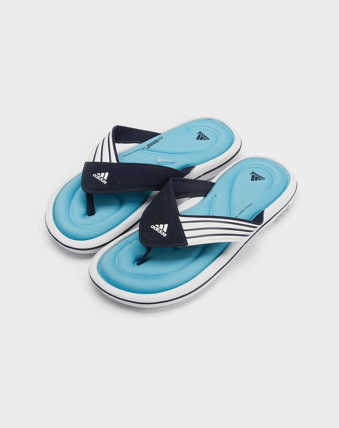 阿迪达斯adidas女款浅蓝色沙滩人字拖鞋901989