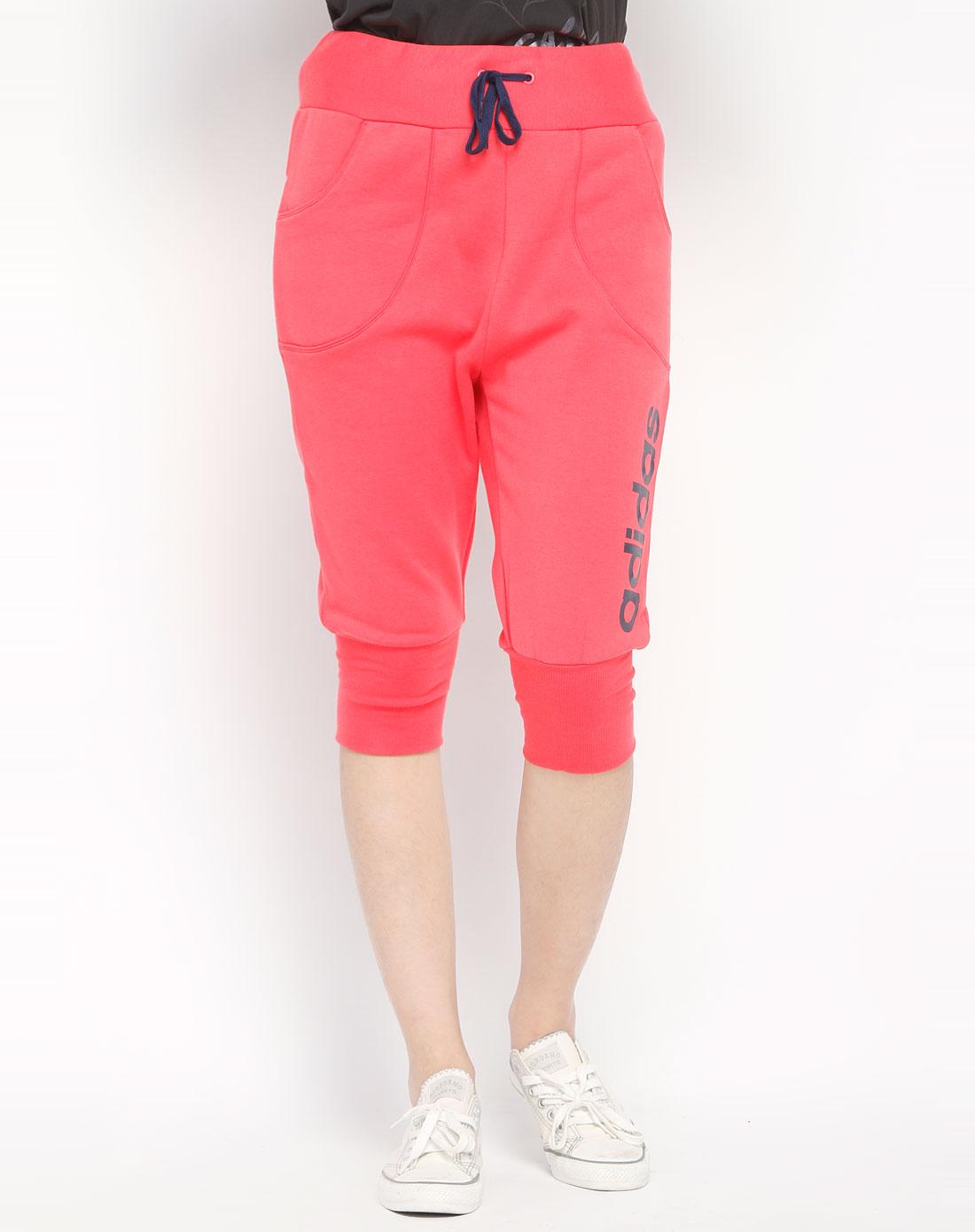 阿迪达斯adidasneo 女款桃红色运动中裤e66652