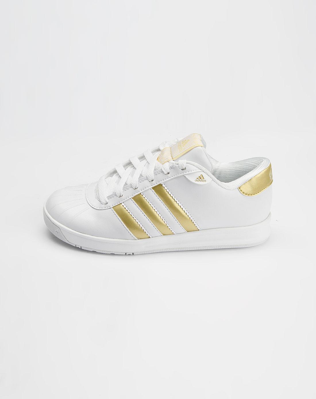 阿迪达斯adidas女款白/金绿色运动休闲鞋g08676