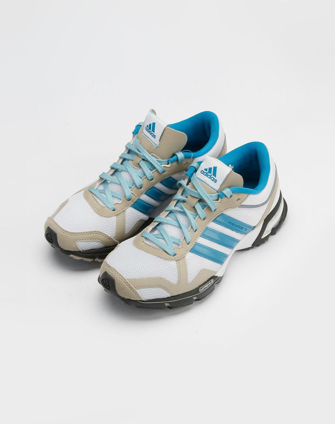 阿迪达斯adidas女款白色细网面跑步鞋1g09492