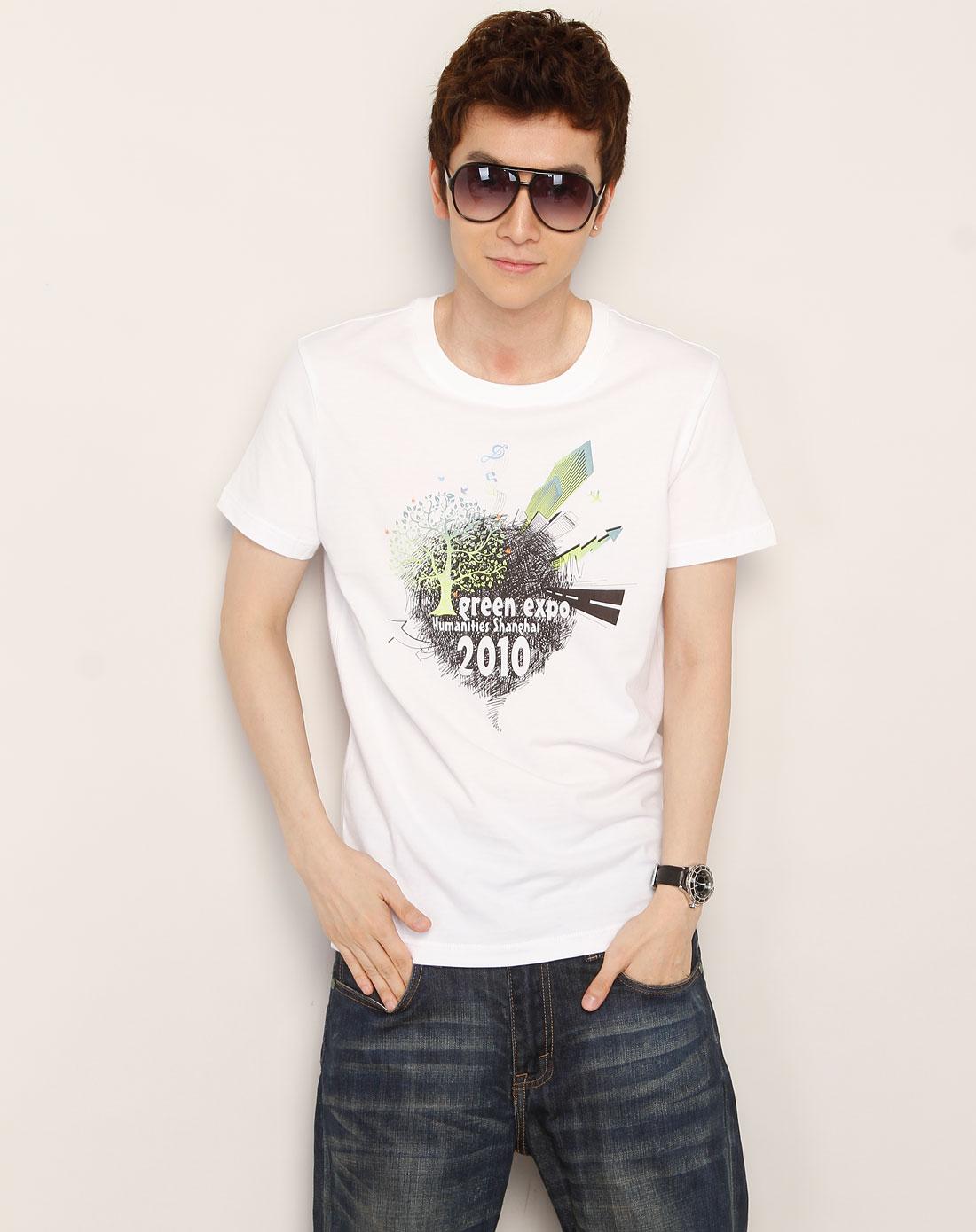 漂白色环保树图案短袖t恤