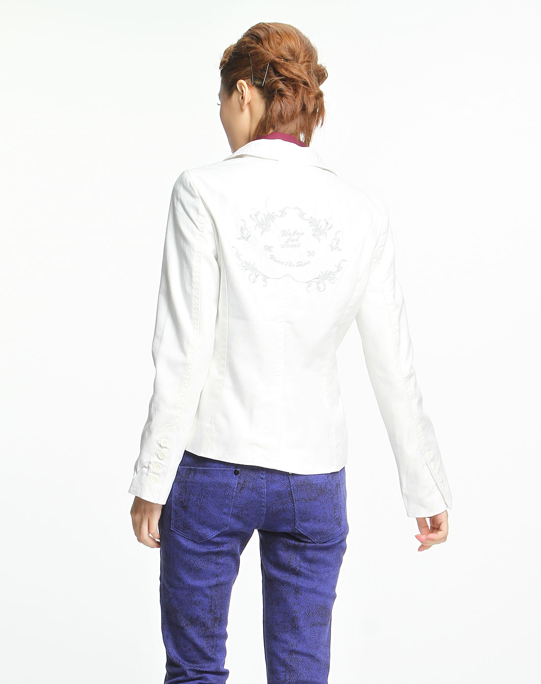 森马白色休闲长袖西装外套091140523-110_唯品会