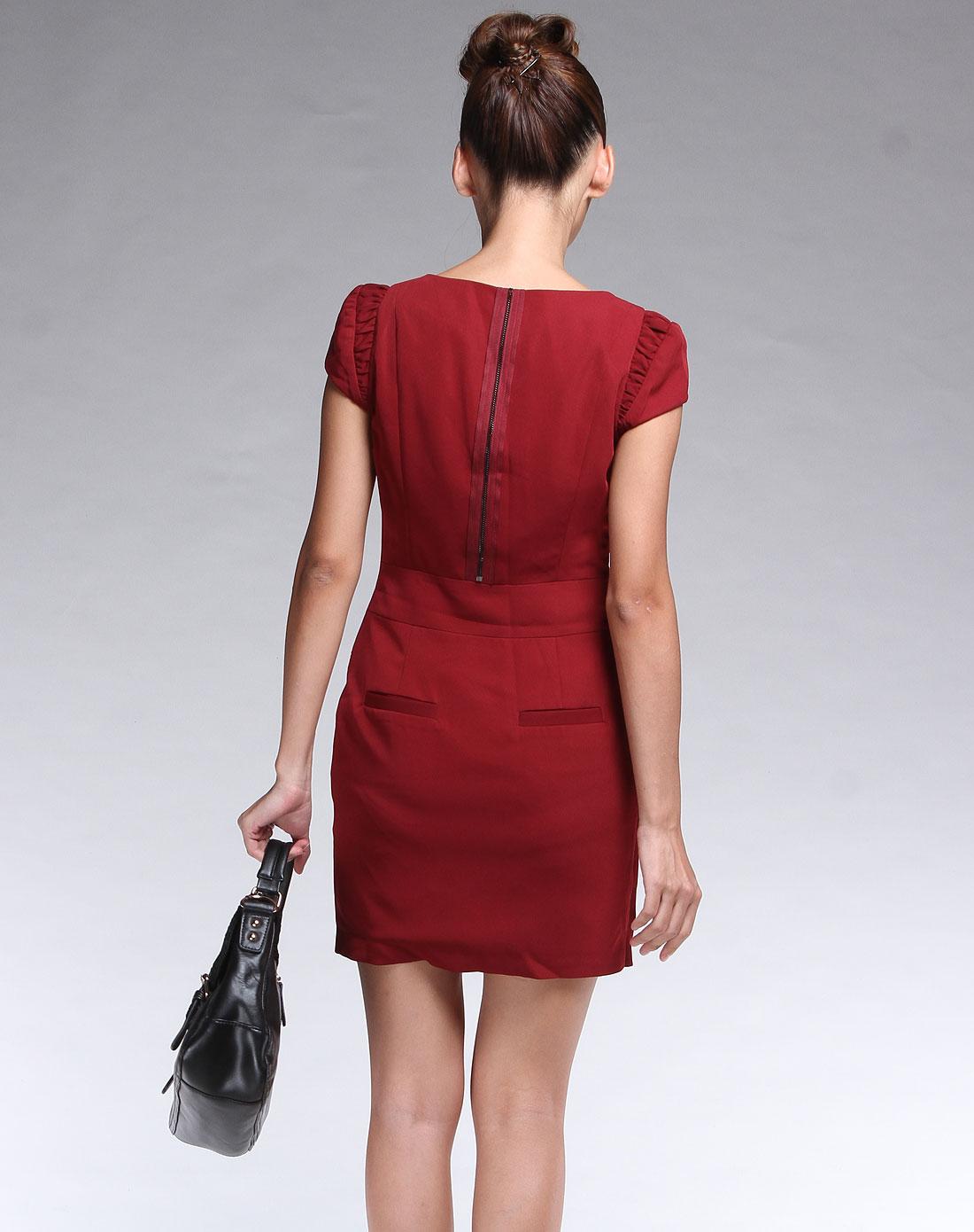 傲丝度isayido女装专场-酒红时尚装饰拉链短袖连衣裙