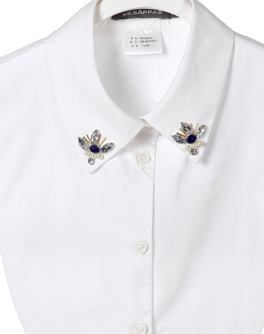 白色时尚气质钉珠衬衣领