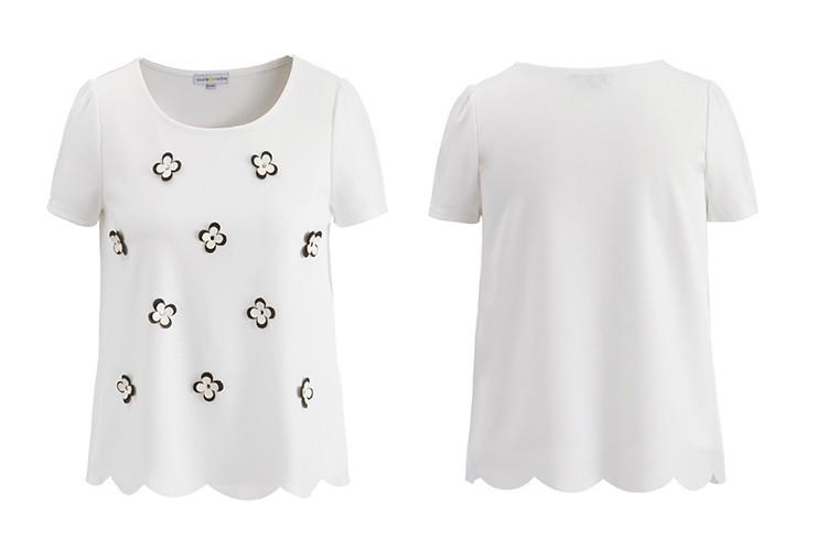 欧美钉花纯白甜美t恤