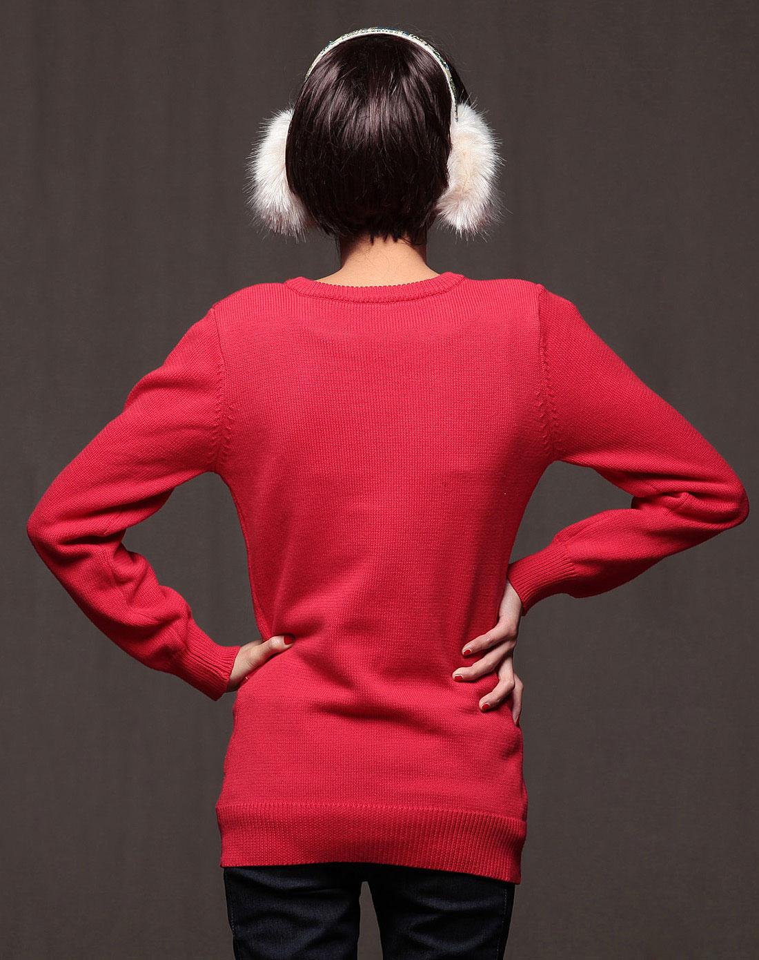 裂帛红色装长袖绣花毛衣161600450403