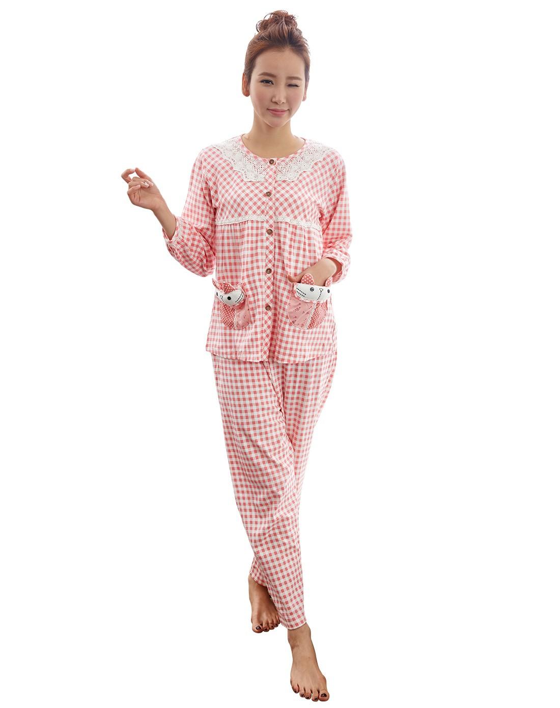 南极人njr男女内衣粉色可爱甜美女士家居服套装n6l5x