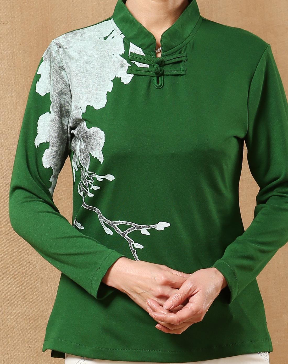 深绿色唐装印花长袖上衣