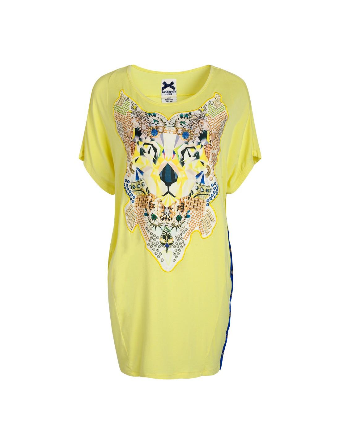 柠檬黄手绘抽象老虎印花宽松薄款t恤