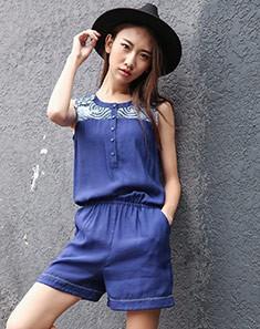 连衣短裤蓝色