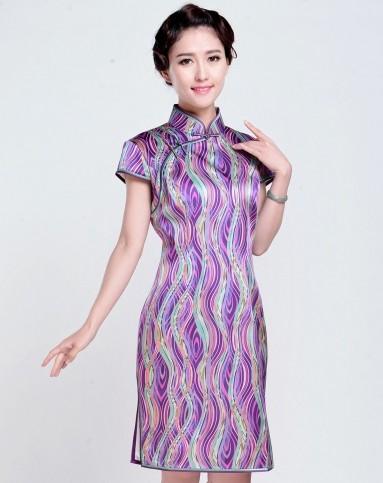 女款紫色波纹印花真丝旗袍