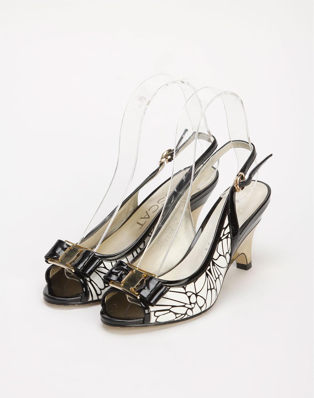 接吻猫 黑/白色花纹牛漆皮凉鞋