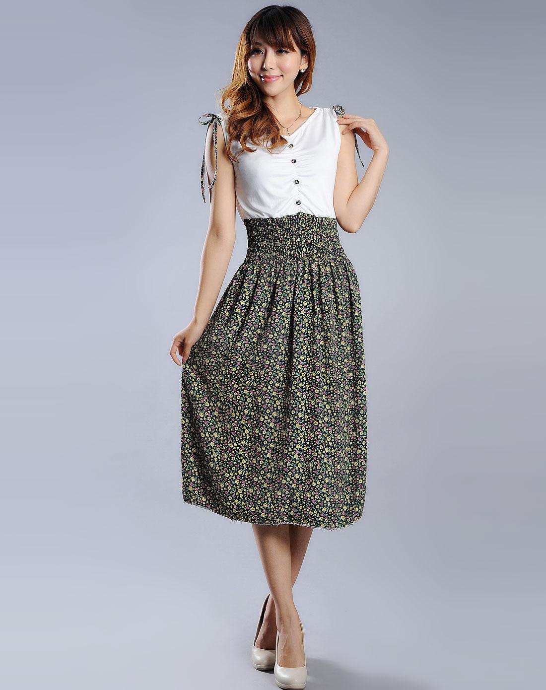 色时尚欧式花纹无袖连衣裙