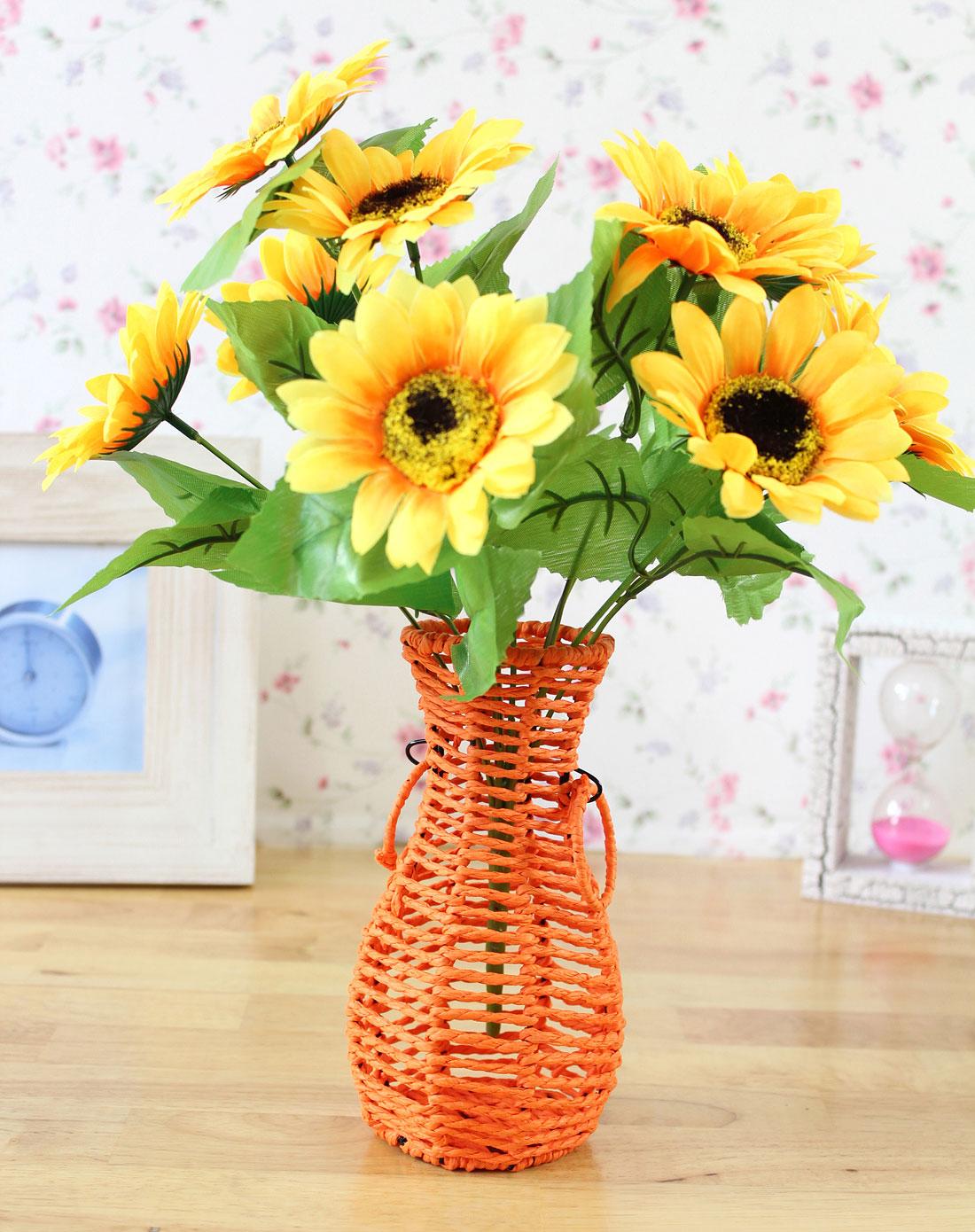 纸艺手编花篮摆件橙色(花瓶含插花)