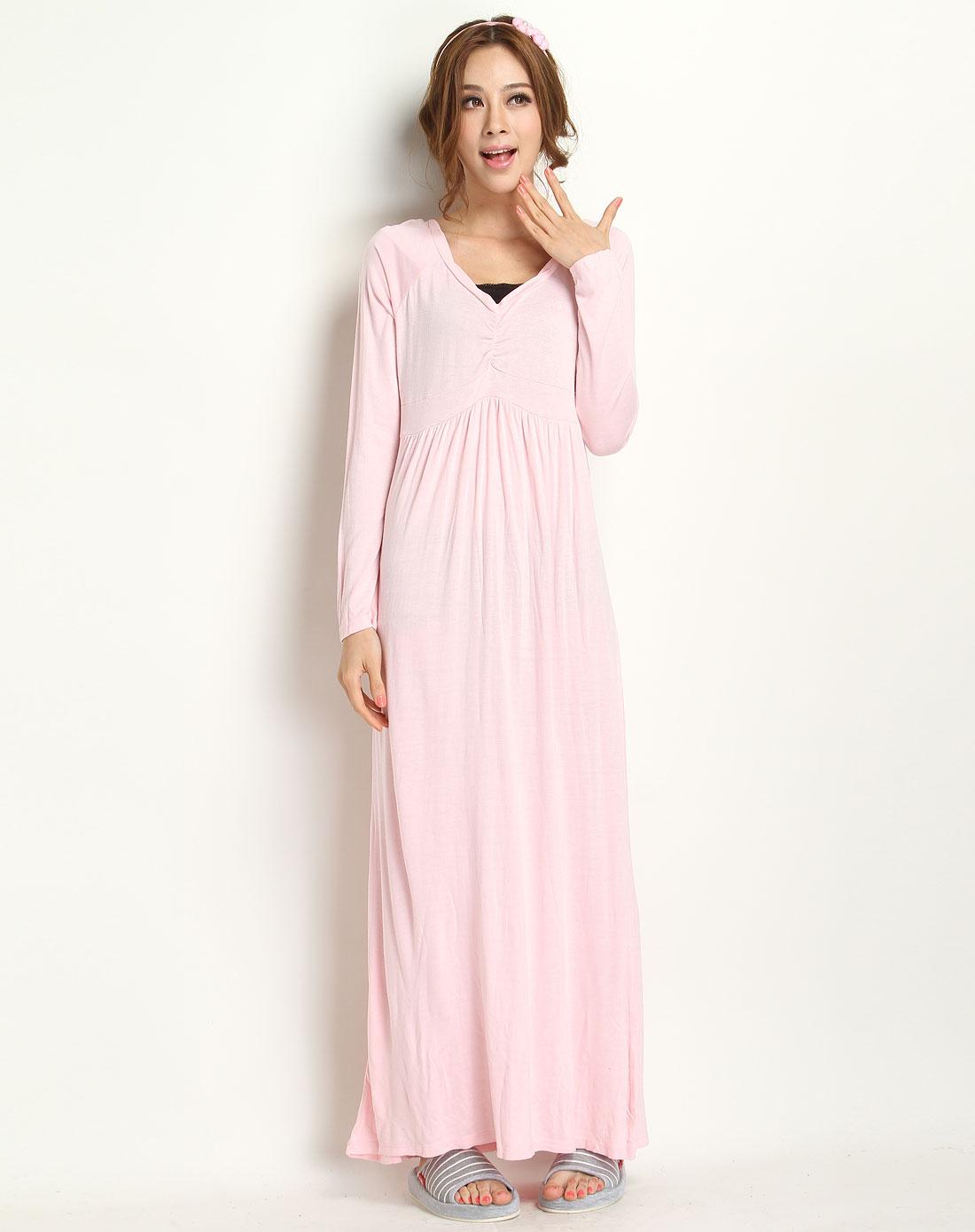 粉红色时尚长袖长裙