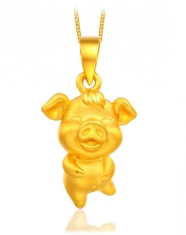 猪宝宝 3d硬金千足金十二生肖吊坠