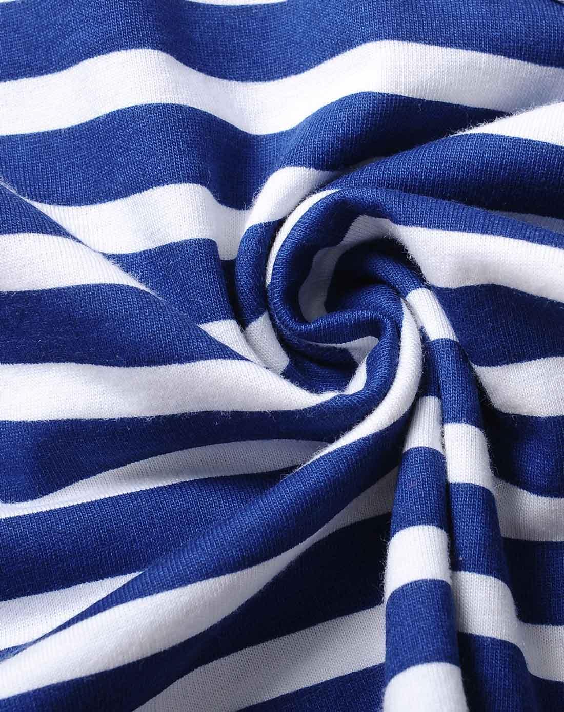 男童海蓝白条纹t恤