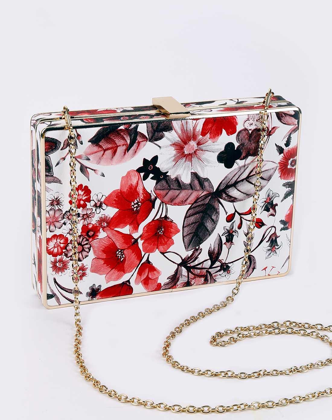 奢华欧式复古典雅手绘百花争艳国画手拿单肩派对包