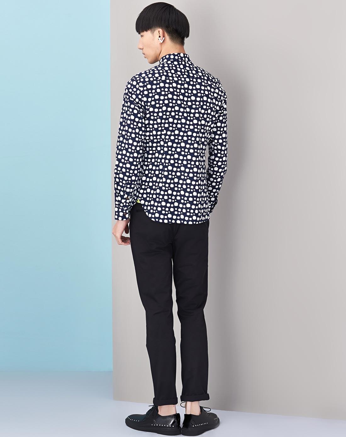 jeans男款蓝底白点休闲长袖衬衫51803303826