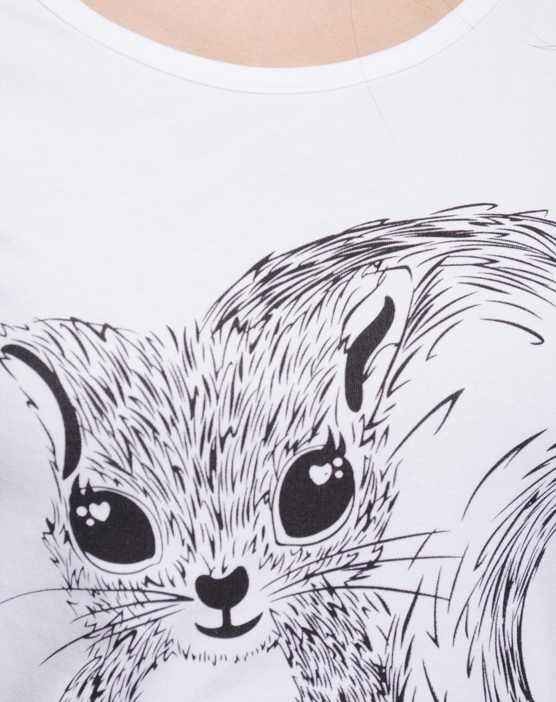 可爱松鼠印花体力小裙子时尚白色长款t恤