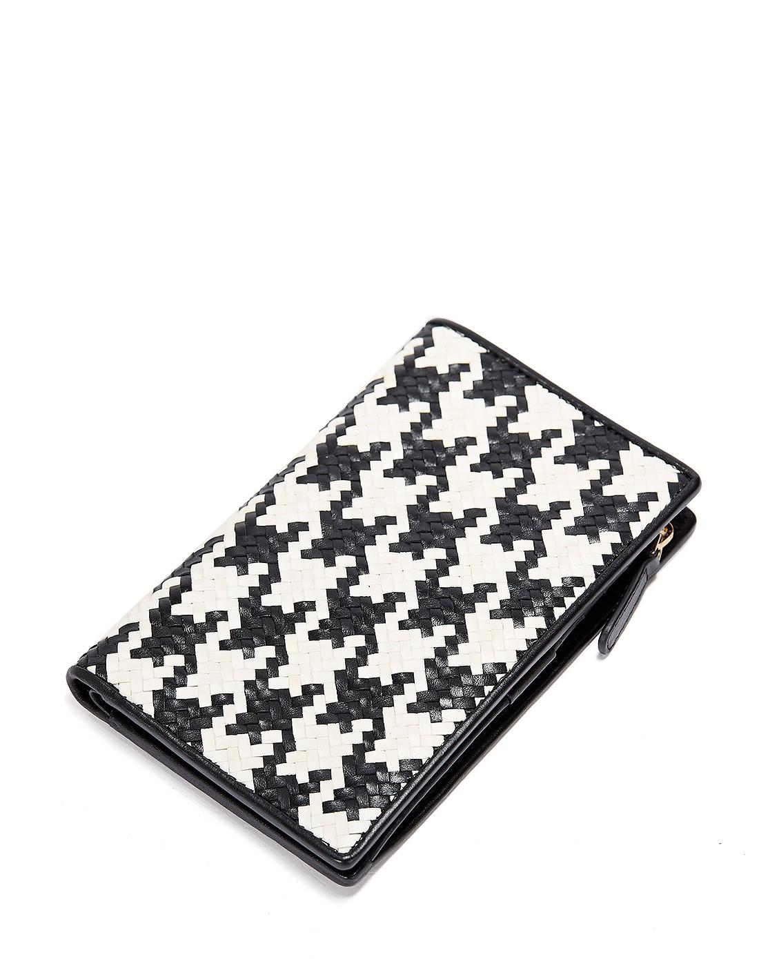 黑白千鸟格纹手工编织钱包