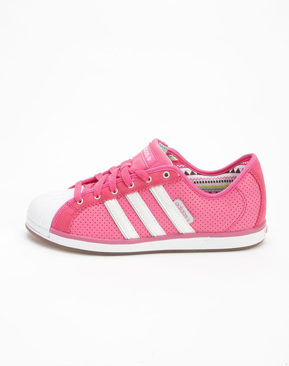 阿迪达斯adidasneo女款桃红色绑带休闲鞋g53226