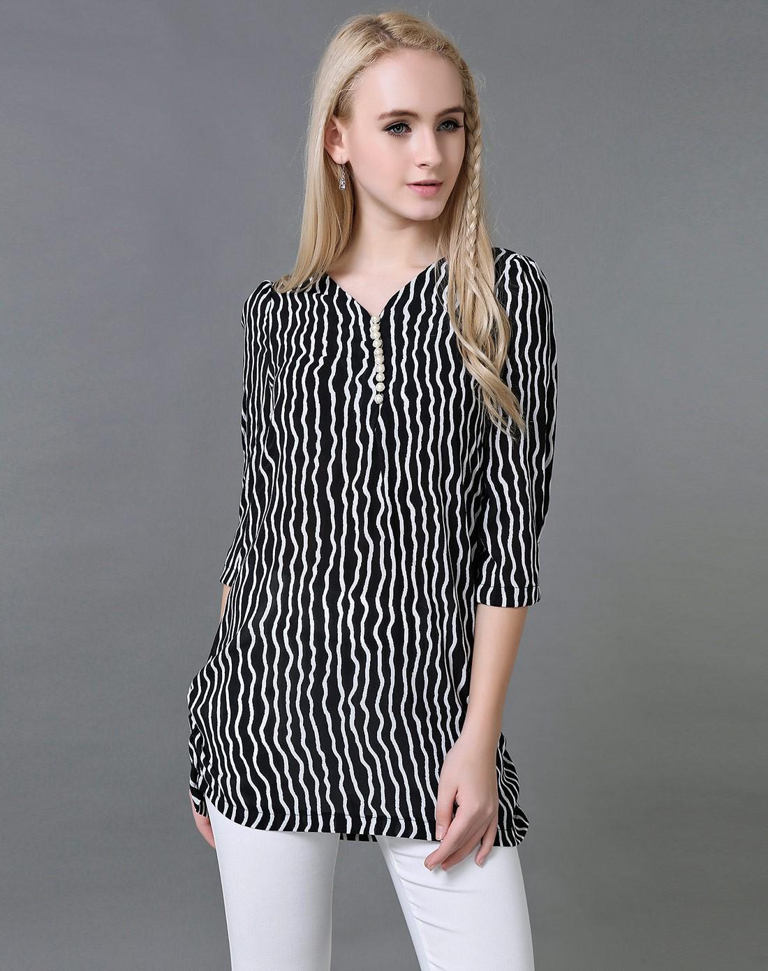 arango女款黑白色黑条纹上衣2g51y235880