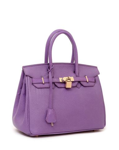 女款亮紫色牛剖层皮革手提包