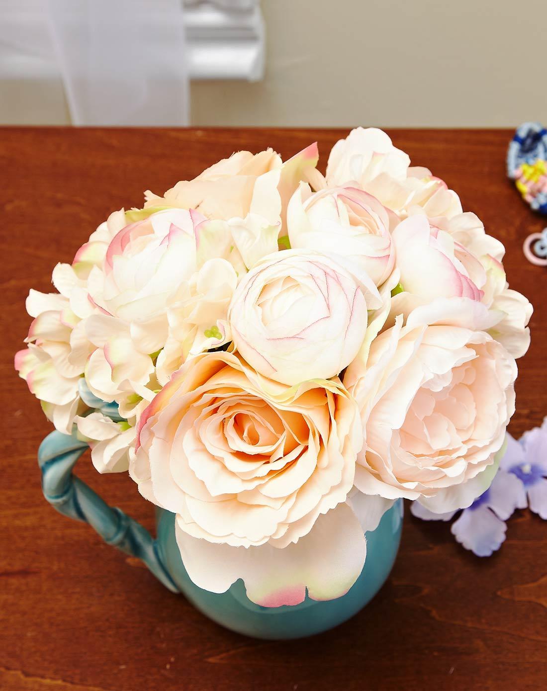 欧式唯美布艺仿真花束-茶苞玫瑰绣球香槟