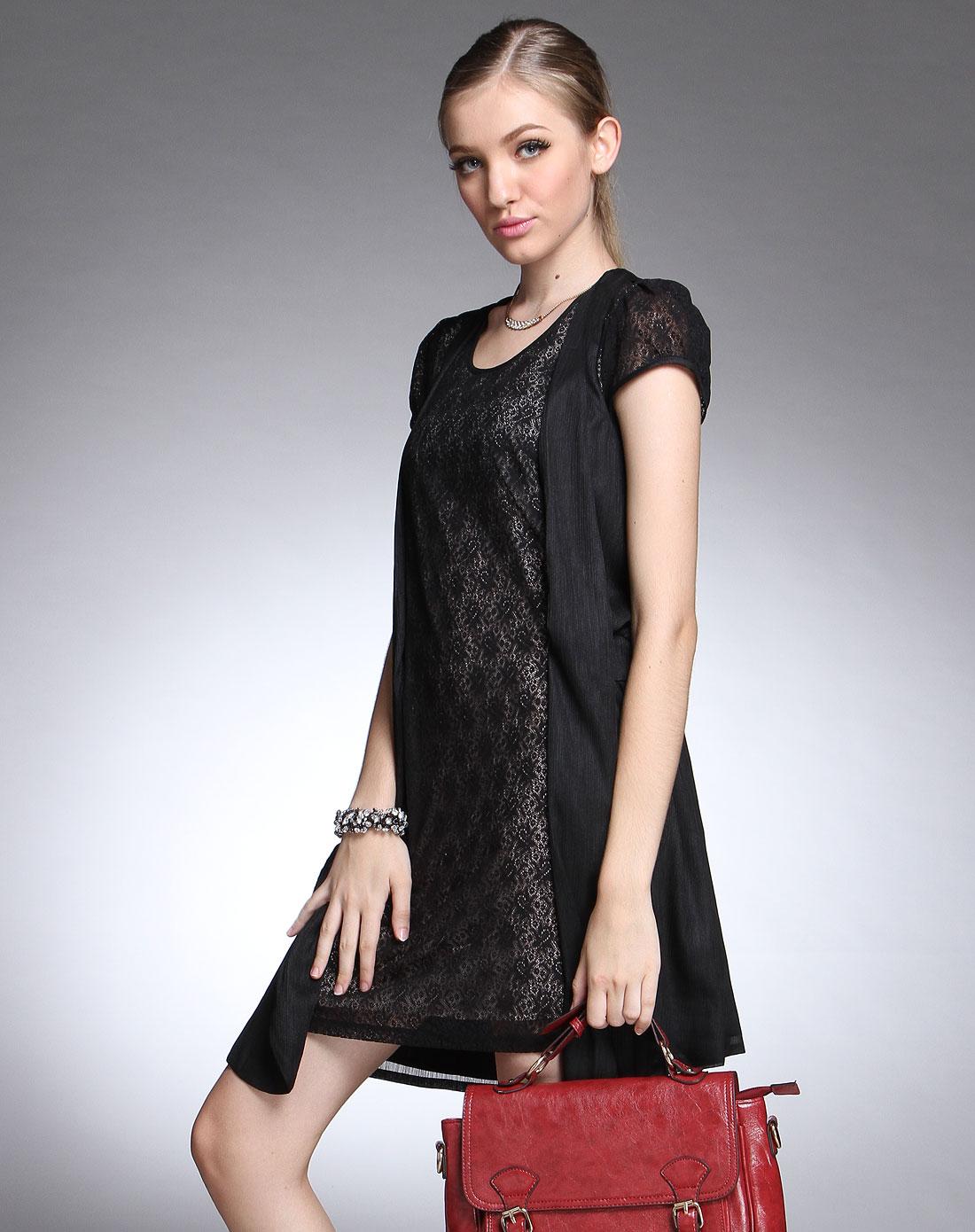 黑色蕾丝花纹圆领短袖连衣裙