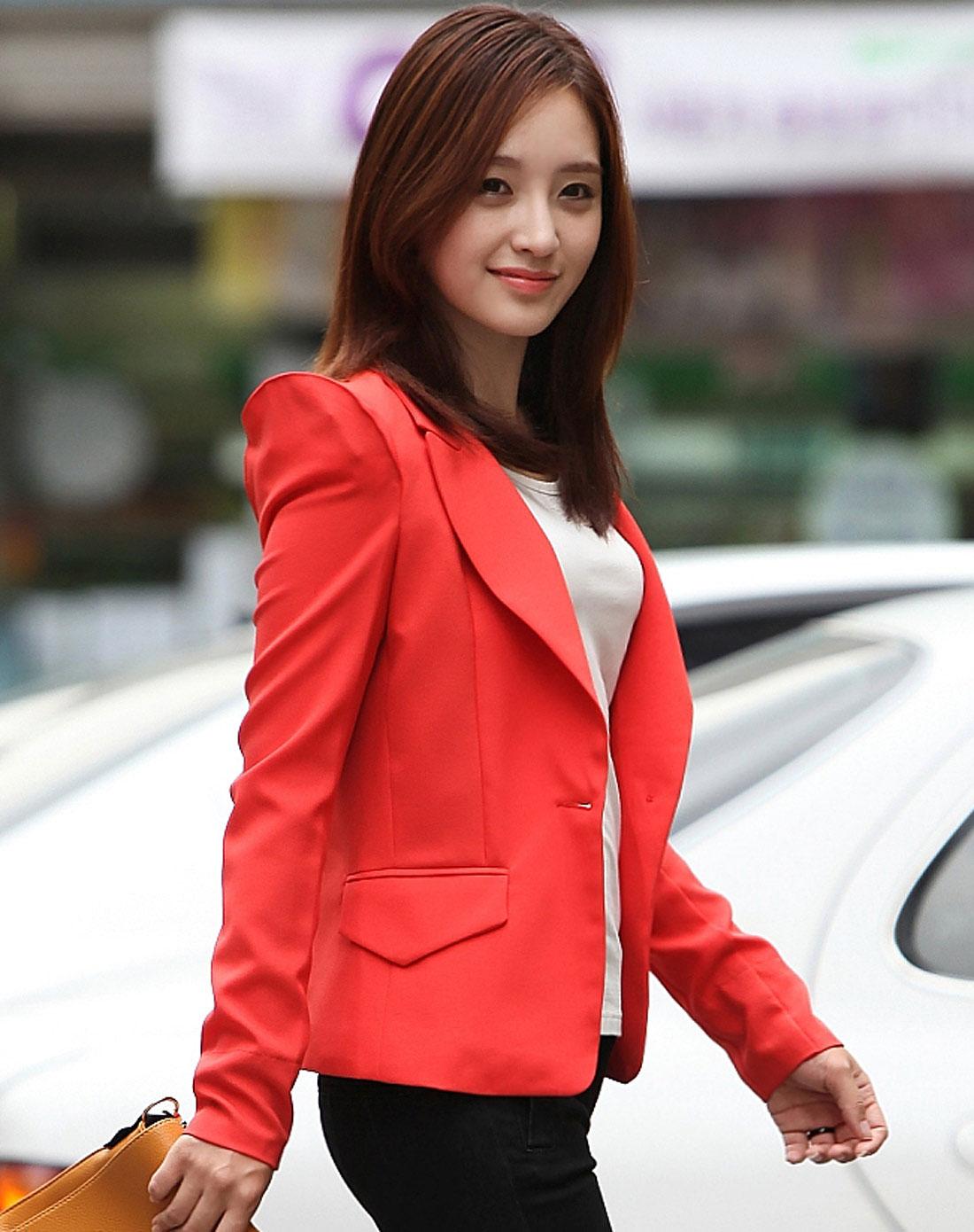 韩都衣舍hstyle女装专场-橘红色一粒扣修身长袖西装