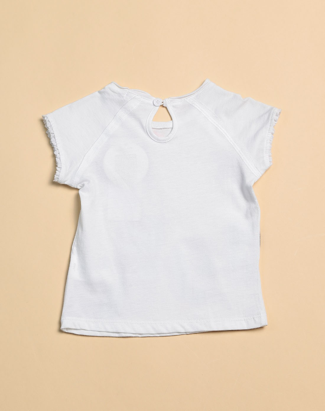 女童白色花边袖口短袖t恤