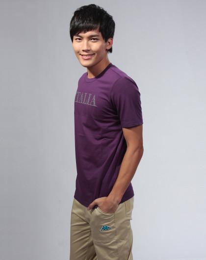 紫色短袖图案t恤