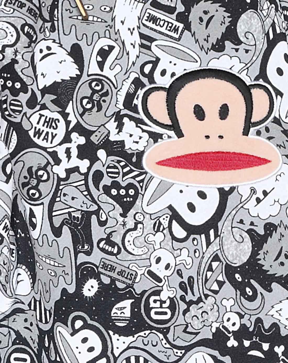 大嘴猴paul frank男女logo印花 女式黑白满印运动裤