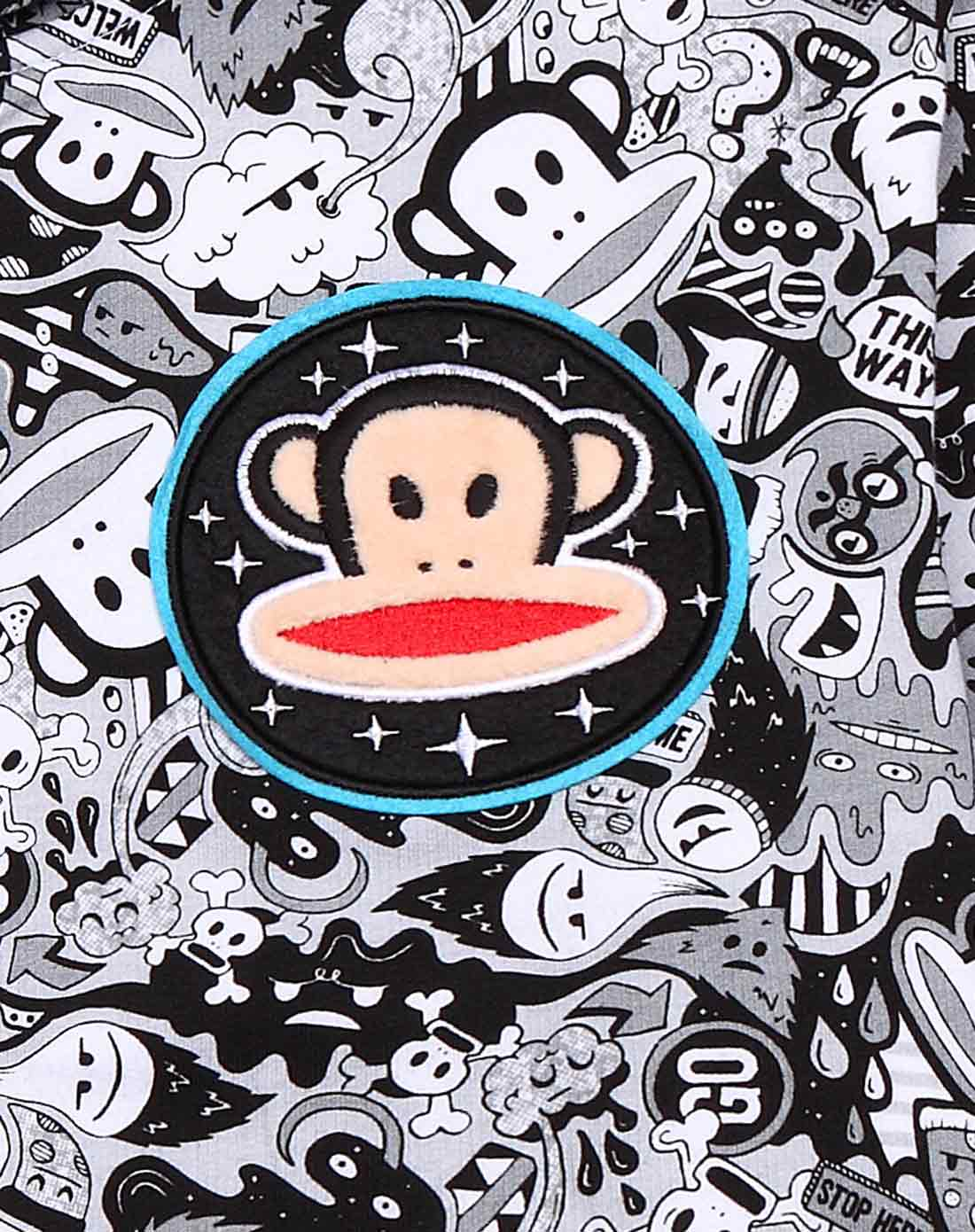 大嘴猴paul frank男女logo印花 男式黑白满印外套 连