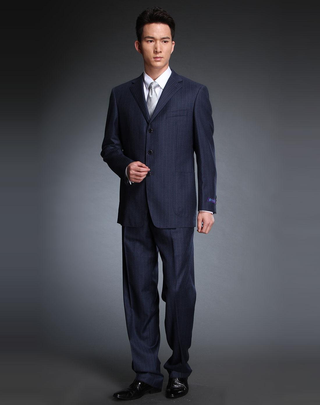 深蓝紫色条纹长袖西服