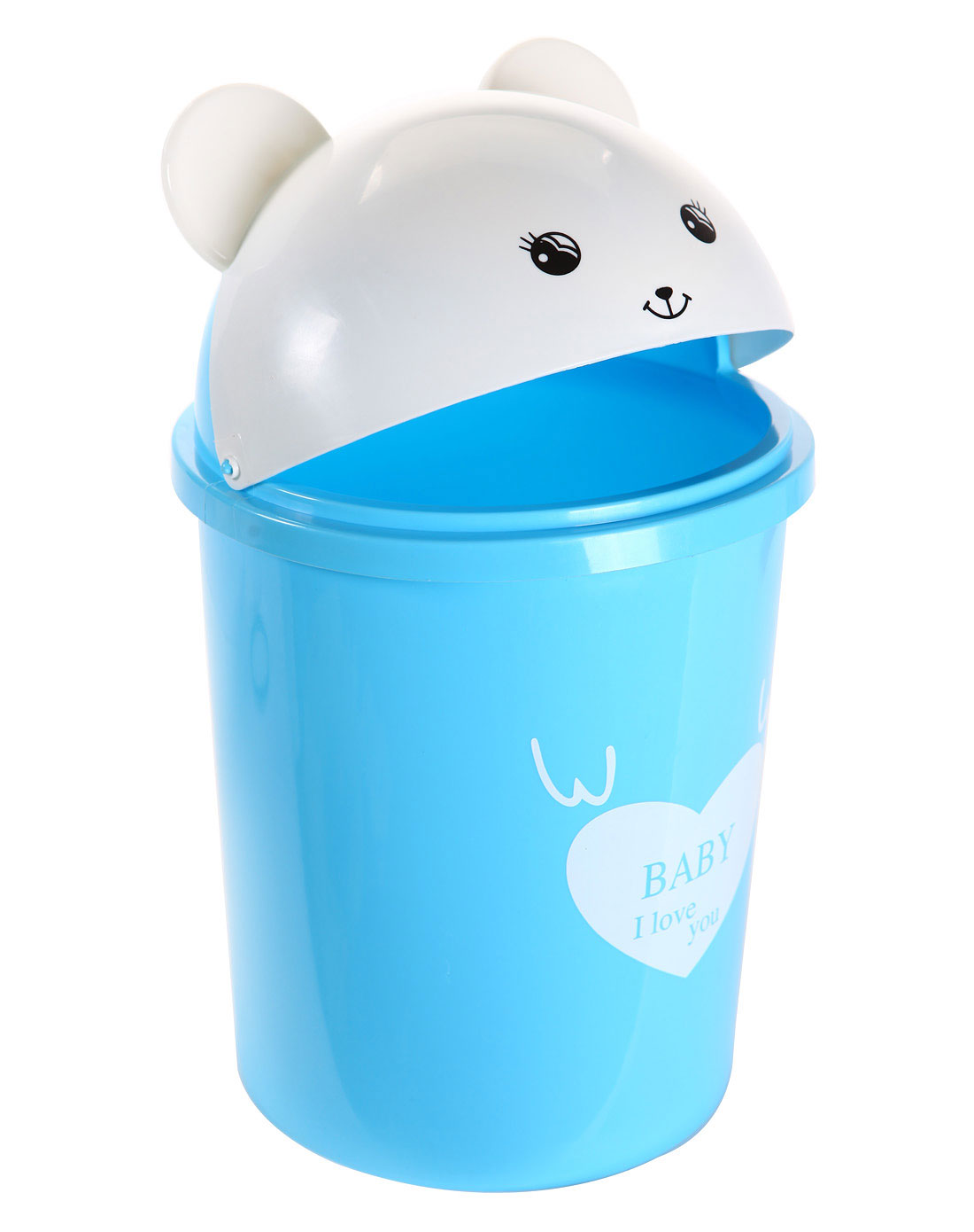 h&3家居用品专场蓝色可爱小熊塑料垃圾桶