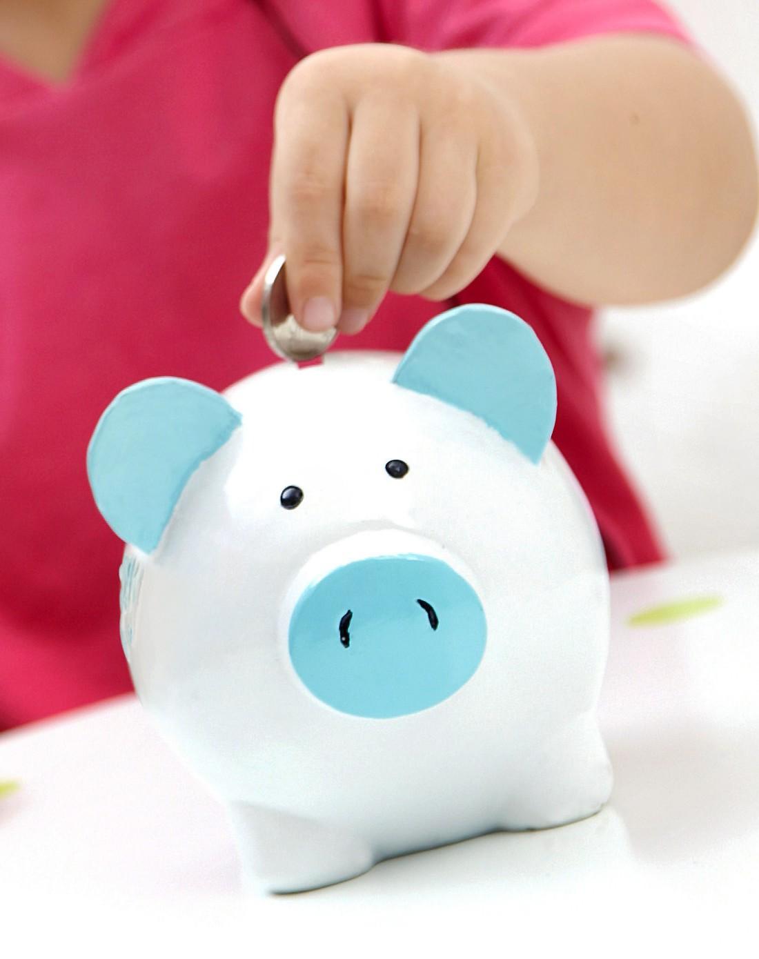 哈尚 环保手绘树脂儿童储蓄罐-蓝猪