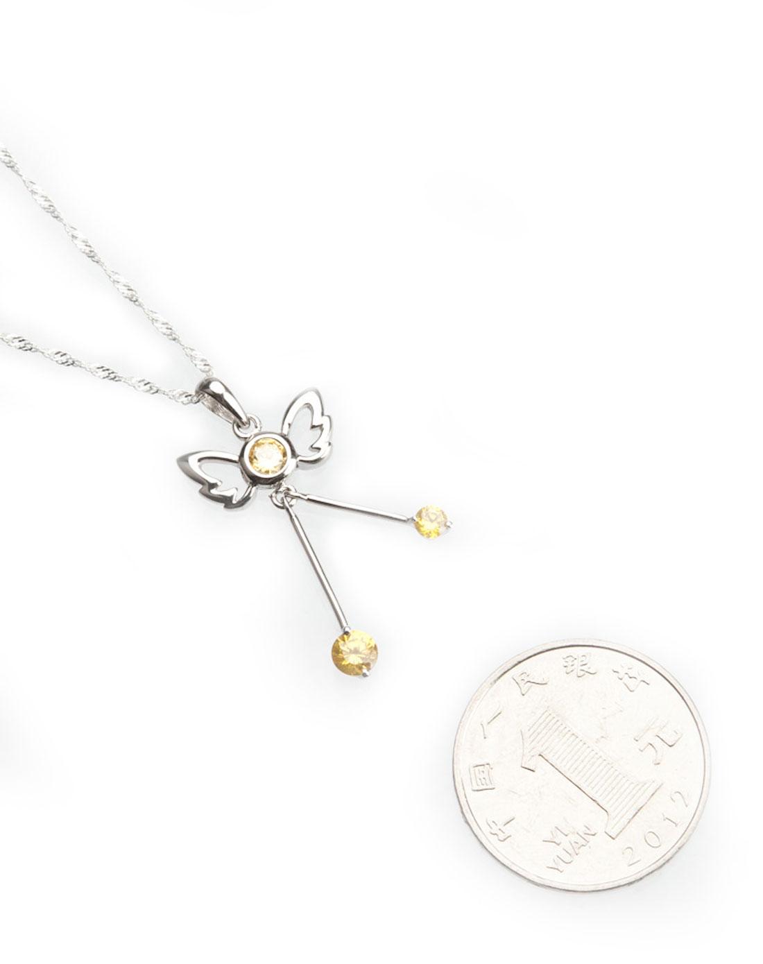 银白色925银锆石天使的翅膀