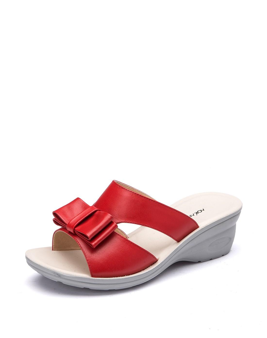 奥康aokang2015新款舒适坡跟软面时尚女凉拖鞋_唯品