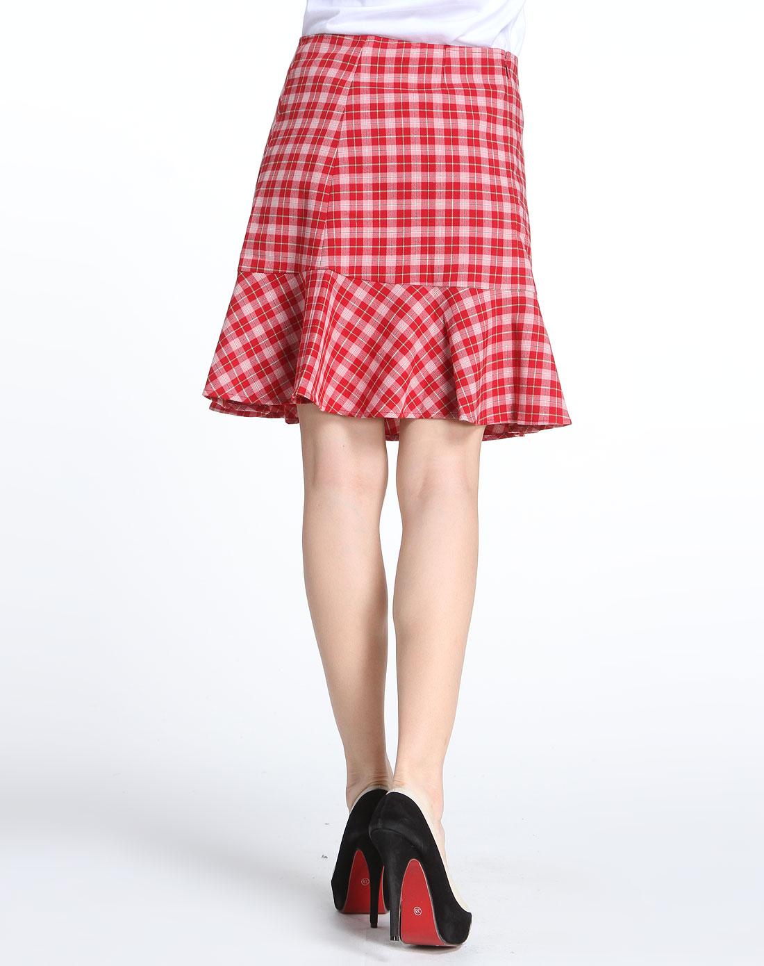 mokuba红色格子时尚短裙112220526