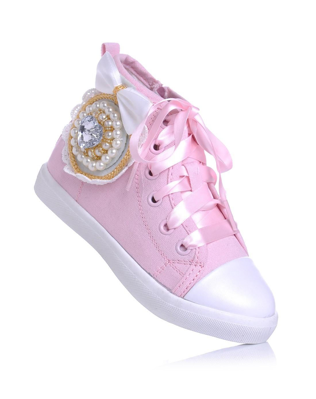 女童粉色可爱帆布鞋